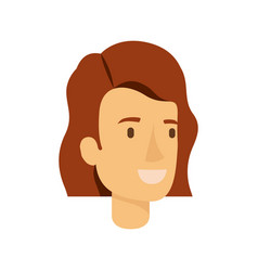 Colorful silhouette of woman face with short brown vector