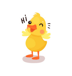 cute funny little yellow duck chick character vector image