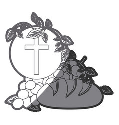 grayscale silhouette of communion religious icons vector image
