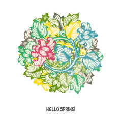 Hand drawn floral spring design vector