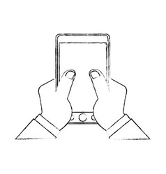 Hand holding modern cellphone with blank screen vector