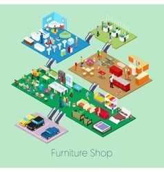 Isometric Furniture Shop Inside with Kitchen vector image vector image