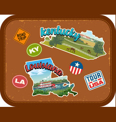 kentucky louisiana travel stickers vector image vector image