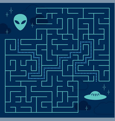 labyrinth maze game with solution help alien vector image