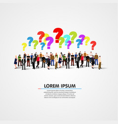 large group of people with questions vector image