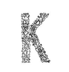 letters floral k vector image