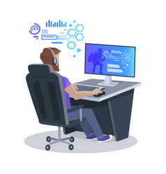 man playing computer game vector image