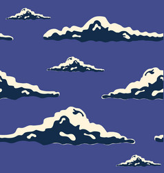 Night sky hand drawn seamless texture with clouds vector