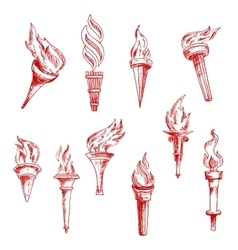 Red flaming torches sketch icons vector