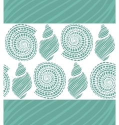 Seamless turquoise background with shells vector