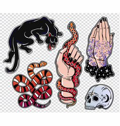 set of danger latin style classic flash patches vector image