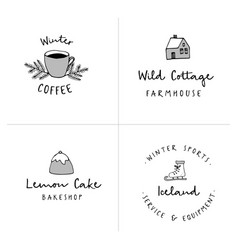 set of logotypes with hand drawn icons winter vector image vector image