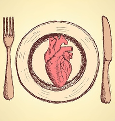 Sketch human heart on the plate in vintage style vector image vector image