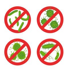 Stop bacteria sign set vector