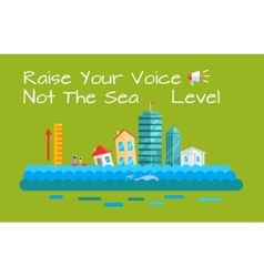Warming and sea level increase concept vector