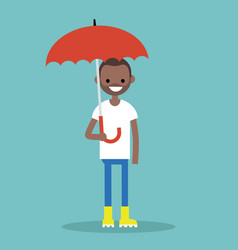 young black character with umbrella wearing vector image