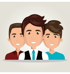 Cartoon men team work isolated vector