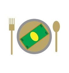 Modern flat icon bill on the plate vector