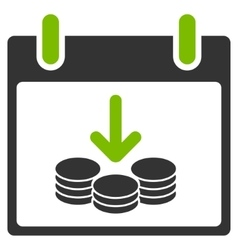 Coins income calendar day flat icon vector
