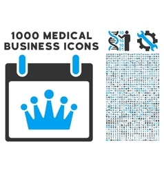 Crown Calendar Day Icon With 1000 Medical Business vector image