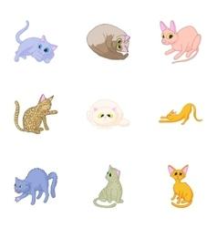 Kitty icons set cartoon style vector