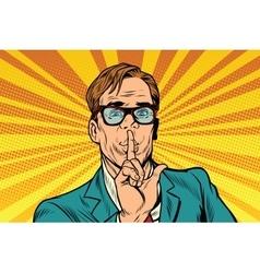 Businessman gesture Shh silence vector image