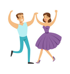 couple in with woman in fancy dress dancing on vector image