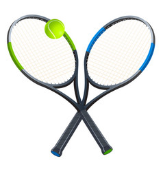 Two tennis rackets with a ball vector