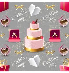 wedding seamless on grey background vector image