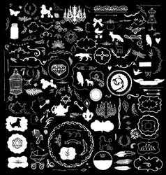 200 Hand Sketched Vintage Design Elements vector image