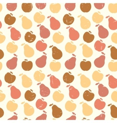 Grunge retro seamless pattern of fruit - apple and vector