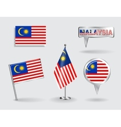 Set of malaysian pin icon and map pointer flags vector