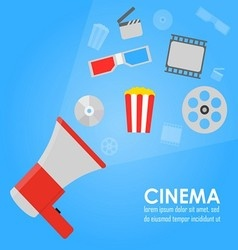 Announcement megaphone cinema promotion vector