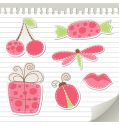 cute pink stickers vector image