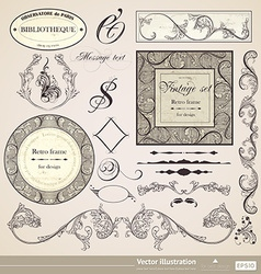 Vintage calligraphic set vector