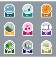 Set of file type icons vector