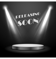 Realistic spot light effect releasing soon poster vector