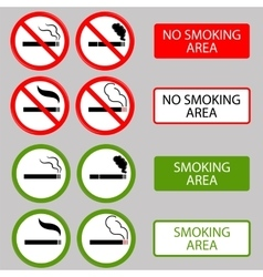 No smoking cigarette smoke prohibited symbols vector