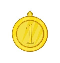 Gold first place medal icon cartoon style vector