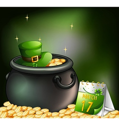A pot of gold coins and a hat with a calendar at vector image vector image