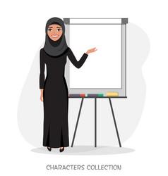 Arab businesswomen holds a presentation on flip vector