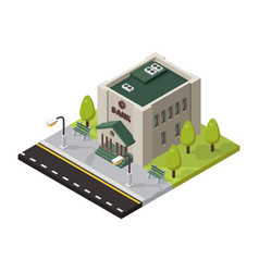 bank isometric buildings isolated vector image vector image
