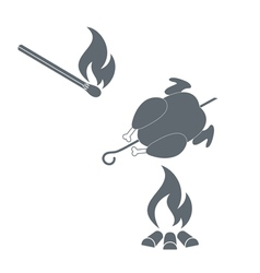 Barbecue chicken and match icon vector