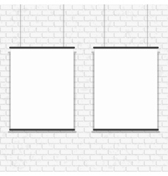 Blank poster on seamless brick wall vector image
