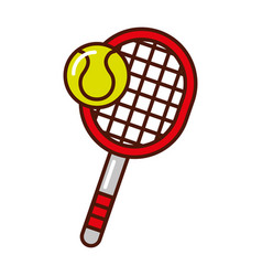 Brightly tennis racket and ball cartoon vector