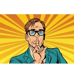 Businessman gesture shh silence vector