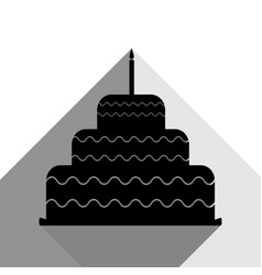cake with candle sign black icon with two vector image vector image