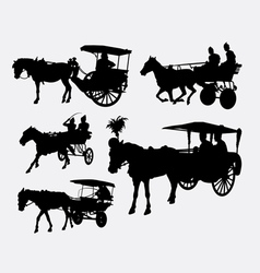 Carriage with horse animal silhouette vector image