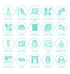 Clothing repair alterations flat line icons set vector