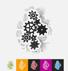 Cogwheel paper sticker with hand drawn elements vector